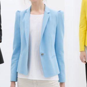 Zara Basic Blue puffy shoulder blazer jacket